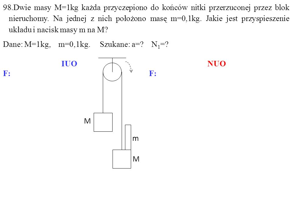 N1N1 M M N -N Q1Q1 Q Q -N 1 F b1 N1N1 M M N -N -N 1 Q1Q1 FbFb Q Q F b2 N=Q+F b1, Q+N 1 =N+F b2, Q 1 =N 1 +F b, gdzie: F b1 =Ma b =Ma, F b2 =Ma b =Ma, F b =ma b =ma.