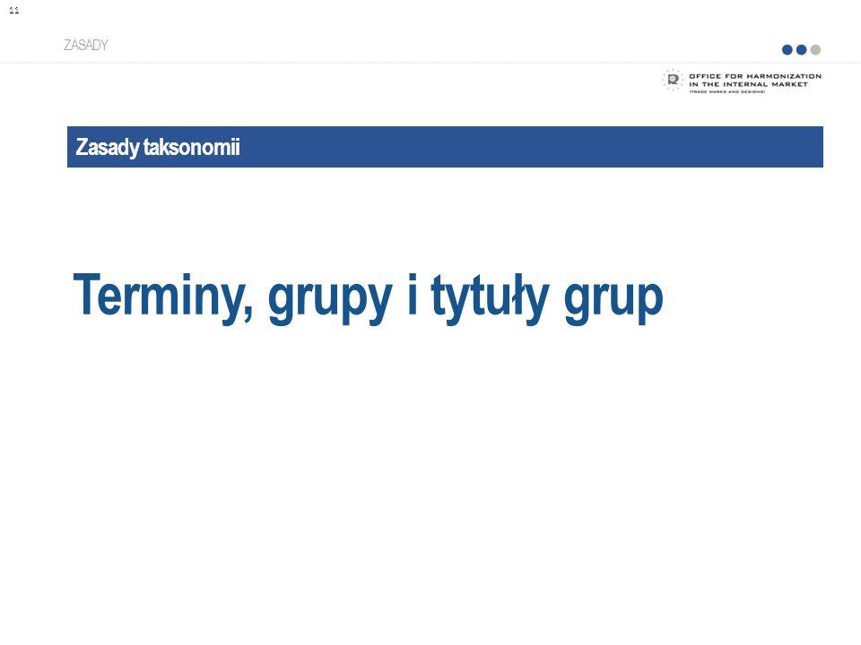 Zasady taksonomii Terminy, grupy i tytuły grup ZASADY 11