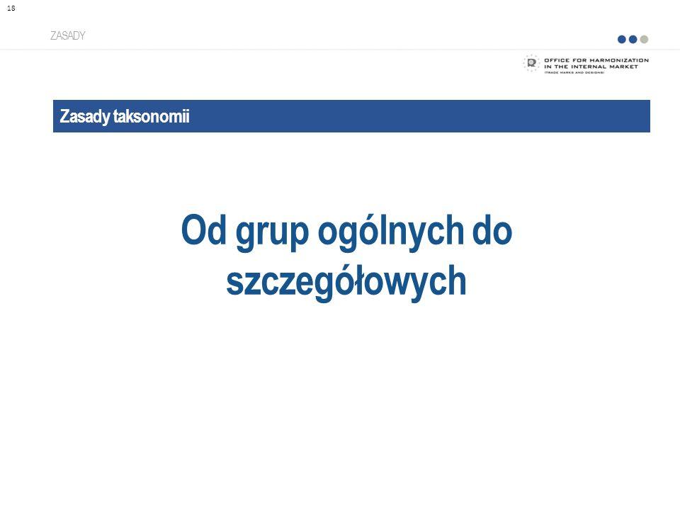 Zasady taksonomii Od grup ogólnych do szczegółowych ZASADY 18
