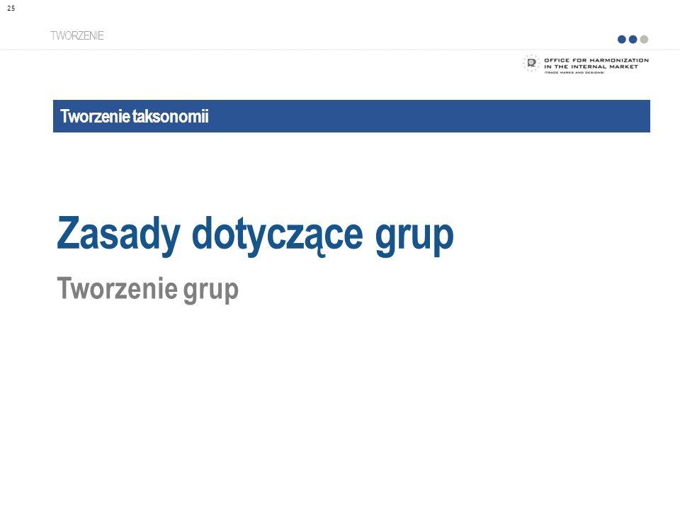Tworzenie taksonomii Zasady dotyczące grup TWORZENIE Tworzenie grup 25