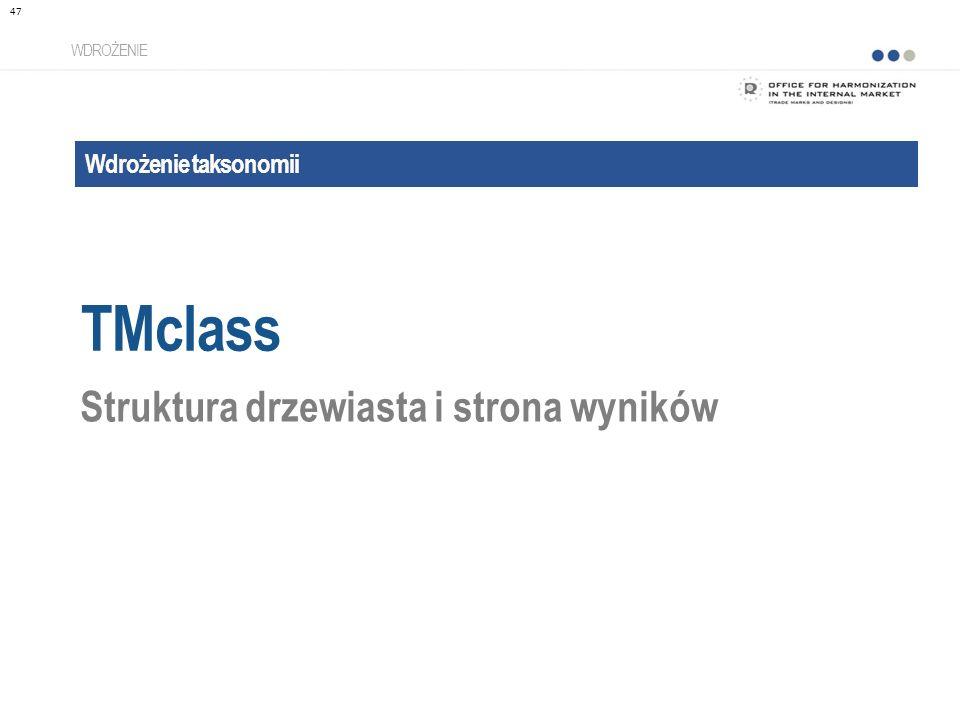 Wdrożenie taksonomii TMclass WDROŻENIE Struktura drzewiasta i strona wyników 47