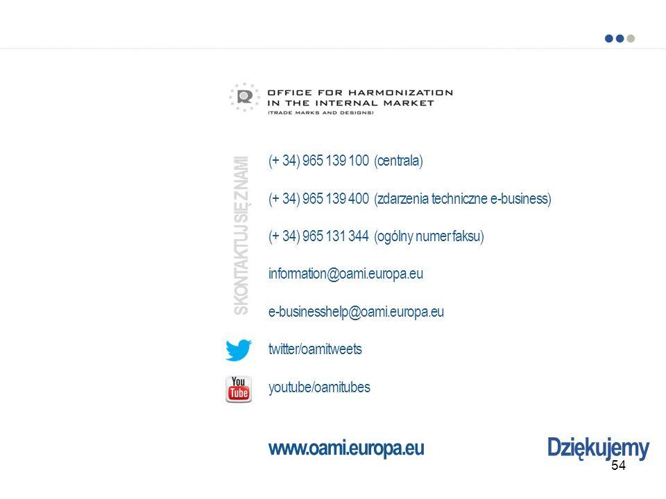 Dziękujemy (+ 34) 965 139 100 (centrala) (+ 34) 965 139 400 (zdarzenia techniczne e-business) (+ 34) 965 131 344 (ogólny numer faksu) information@oami.europa.eu e-businesshelp@oami.europa.eu twitter/oamitweets youtube/oamitubes www.oami.europa.eu SKONTAKTUJ SIĘ Z NAMI 54