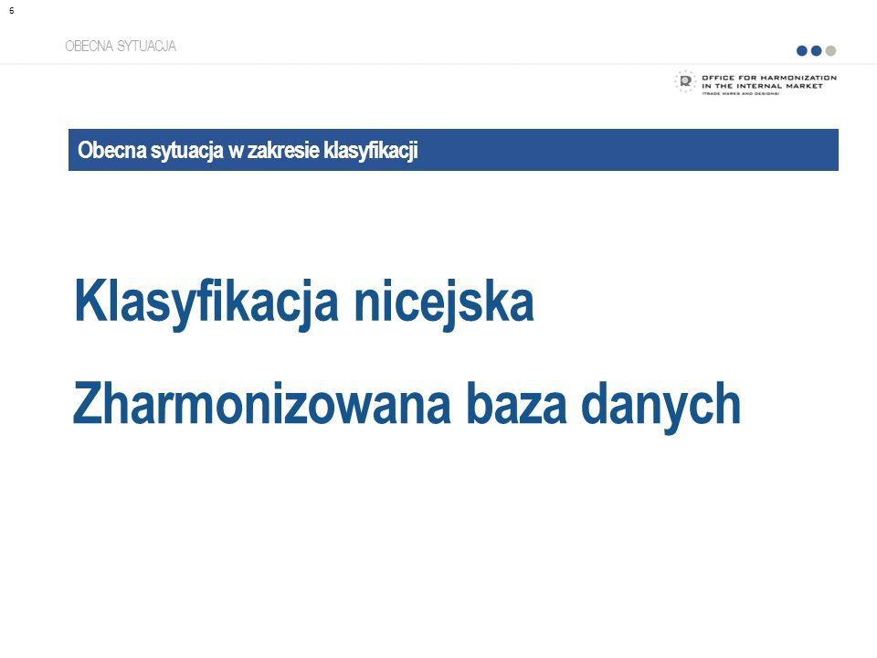 Klasyfikacja nicejska OBECNA SYTUACJA Obecna sytuacja w zakresie klasyfikacji Zharmonizowana baza danych 6