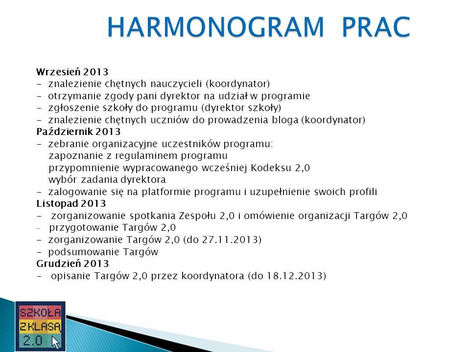Wrzesień 2013 - znalezienie chętnych nauczycieli (koordynator) - otrzymanie zgody pani dyrektor na udział w programie - zgłoszenie szkoły do programu