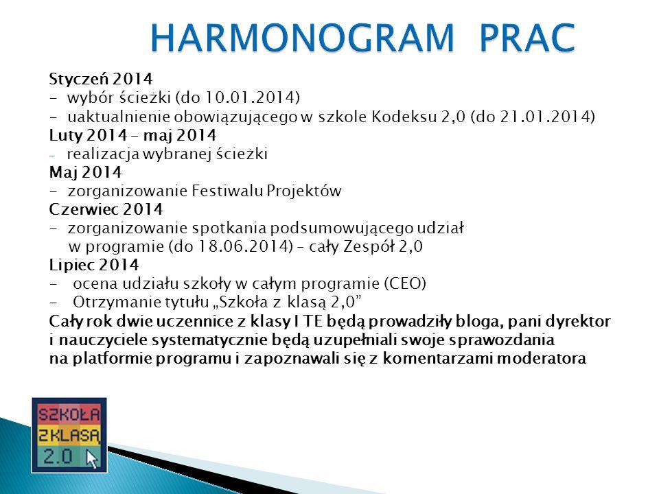 Styczeń 2014 - wybór ścieżki (do 10.01.2014) - uaktualnienie obowiązującego w szkole Kodeksu 2,0 (do 21.01.2014) Luty 2014 – maj 2014 - realizacja wyb
