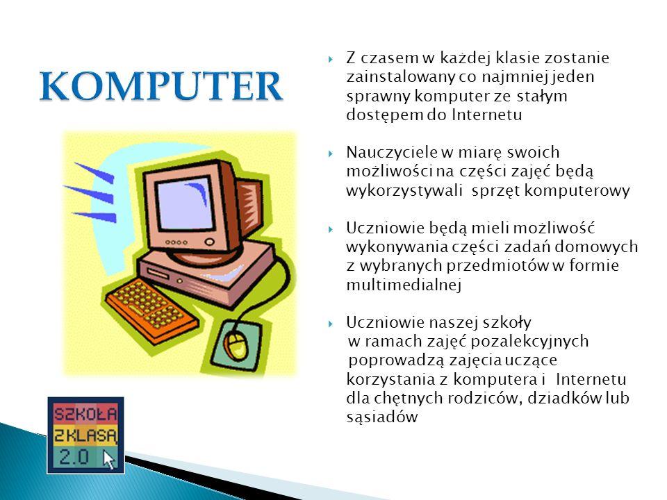 Z czasem w każdej klasie zostanie zainstalowany co najmniej jeden sprawny komputer ze stałym dostępem do Internetu Nauczyciele w miarę swoich możliwoś