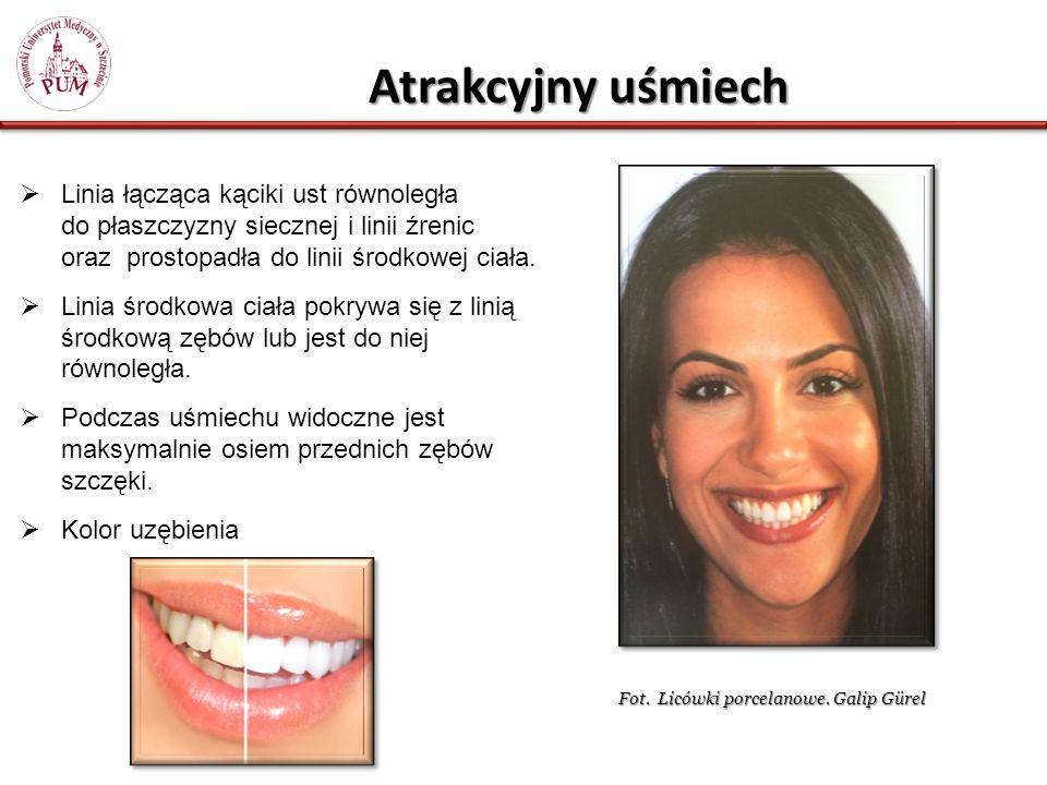 Atrakcyjny uśmiech Linia łącząca kąciki ust równoległa do płaszczyzny siecznej i linii źrenic oraz prostopadła do linii środkowej ciała.