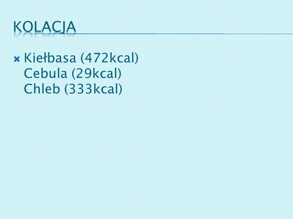 Kiełbasa (472kcal) Cebula (29kcal) Chleb (333kcal)