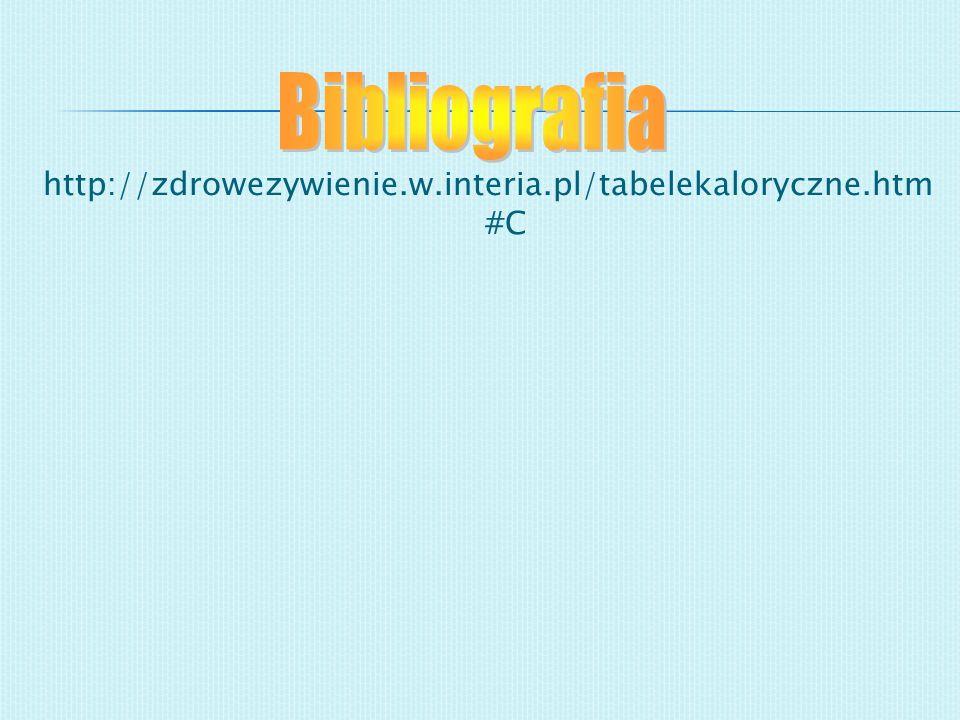 http://zdrowezywienie.w.interia.pl/tabelekaloryczne.htm #C