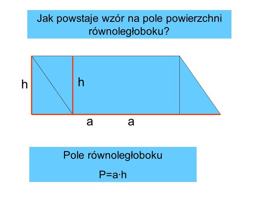 a h h a Pole równoległoboku P=a·h Jak powstaje wzór na pole powierzchni równoległoboku?