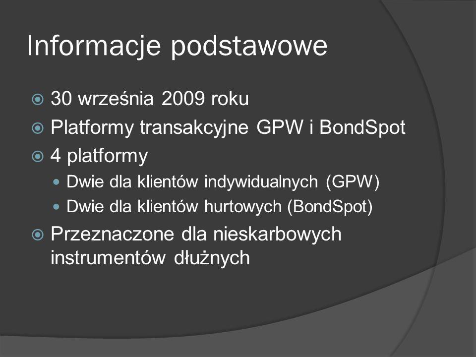 Informacje podstawowe 30 września 2009 roku Platformy transakcyjne GPW i BondSpot 4 platformy Dwie dla klientów indywidualnych (GPW) Dwie dla klientów hurtowych (BondSpot) Przeznaczone dla nieskarbowych instrumentów dłużnych