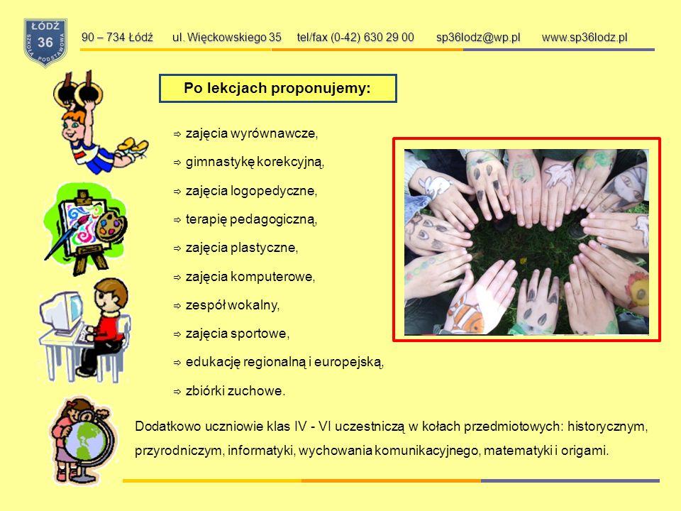 Po lekcjach proponujemy: zajęcia wyrównawcze, gimnastykę korekcyjną, zajęcia logopedyczne, terapię pedagogiczną, zajęcia plastyczne, zajęcia komputerowe, zespół wokalny, zajęcia sportowe, edukację regionalną i europejską, zbiórki zuchowe.