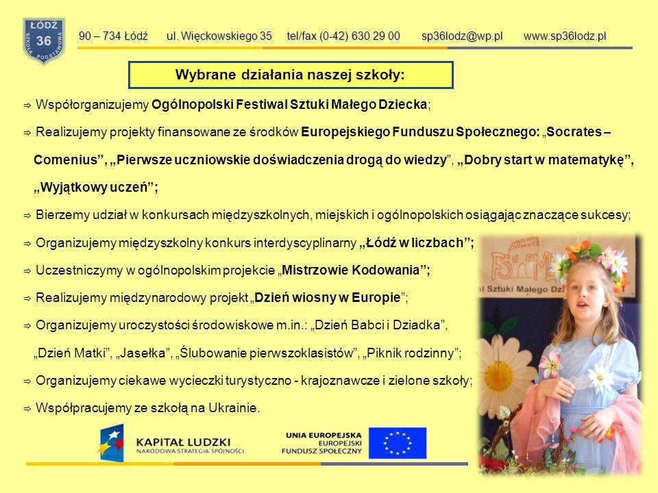 Wybrane działania naszej szkoły: 90 – 734 Łódź ul.