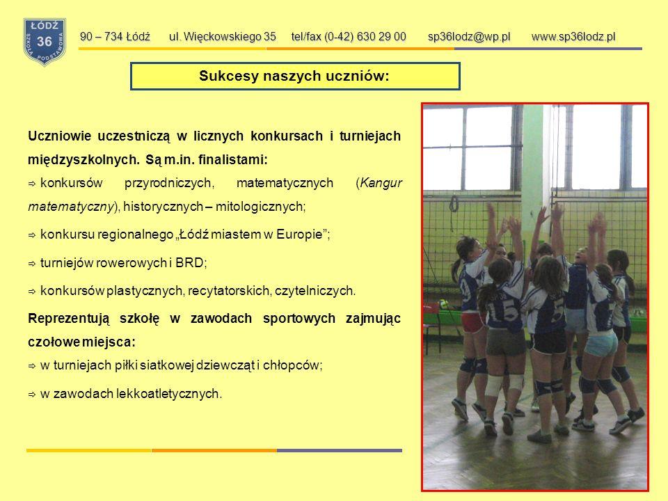 Wybrane działania naszej szkoły: 90 – 734 Łódź ul. Więckowskiego 35 tel/fax (0-42) 630 29 00 sp36lodz@wp.pl www.sp36lodz.pl Współorganizujemy Ogólnopo