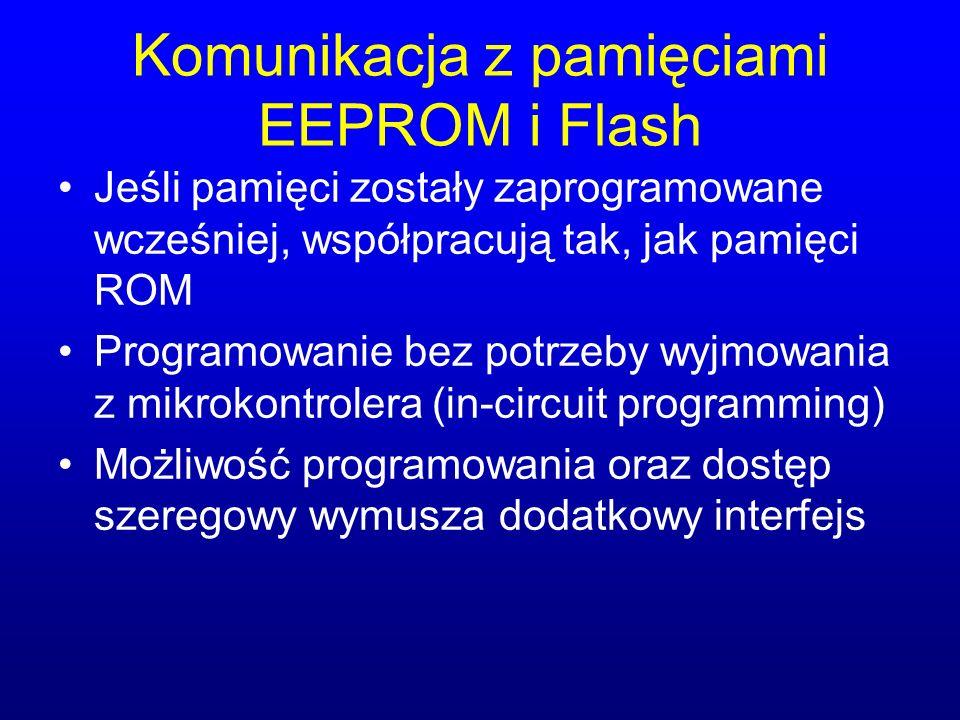 Komunikacja z pamięciami EEPROM i Flash Jeśli pamięci zostały zaprogramowane wcześniej, współpracują tak, jak pamięci ROM Programowanie bez potrzeby w