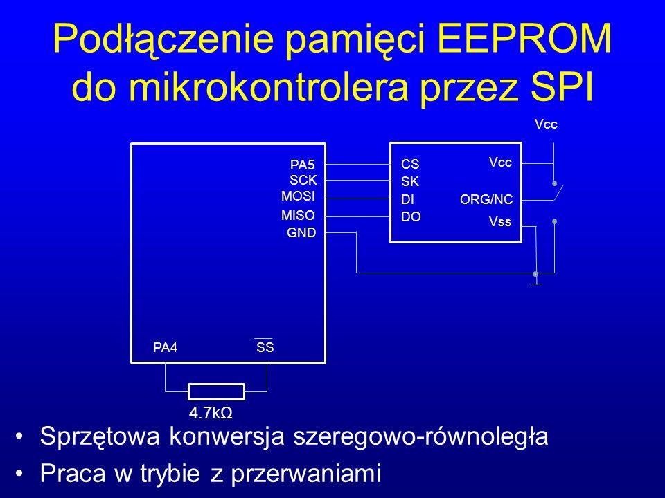 Podłączenie pamięci EEPROM do mikrokontrolera przez SPI Sprzętowa konwersja szeregowo-równoległa Praca w trybie z przerwaniami PA5 SCK MOSI MISO CS SK