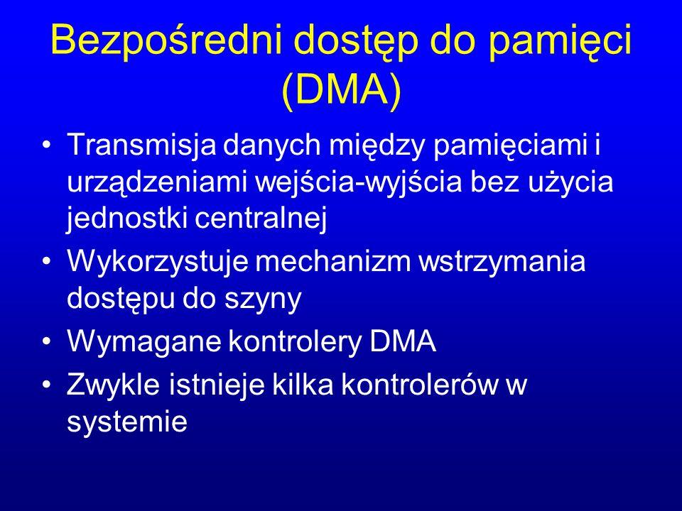 Bezpośredni dostęp do pamięci (DMA) Transmisja danych między pamięciami i urządzeniami wejścia-wyjścia bez użycia jednostki centralnej Wykorzystuje me
