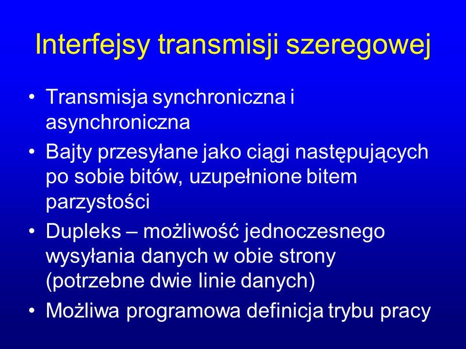 Interfejsy transmisji szeregowej Transmisja synchroniczna i asynchroniczna Bajty przesyłane jako ciągi następujących po sobie bitów, uzupełnione bitem