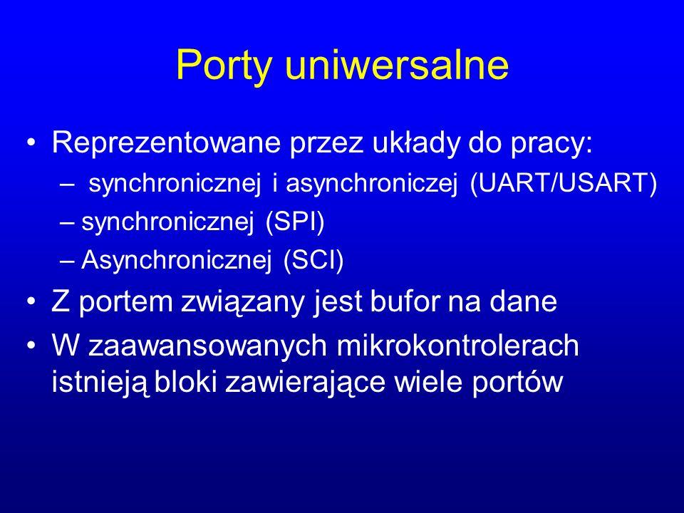 Porty uniwersalne Reprezentowane przez układy do pracy: – synchronicznej i asynchroniczej (UART/USART) –synchronicznej (SPI) –Asynchronicznej (SCI) Z