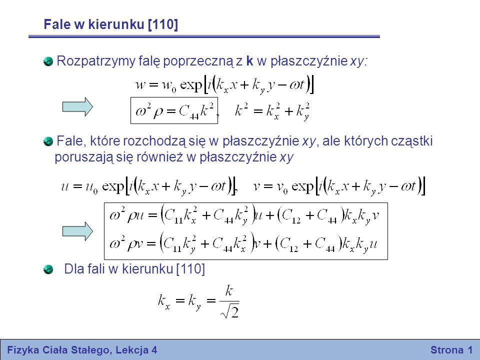 Warunkiem rozwiązania jest znikanie wyznacznika Równanie te ma pierwiastki – opisuje falę podłużną (u=v) – opisuje falę ścinania (u=-v) Fizyka Ciała Stałego, Lekcja 4 Strona 2