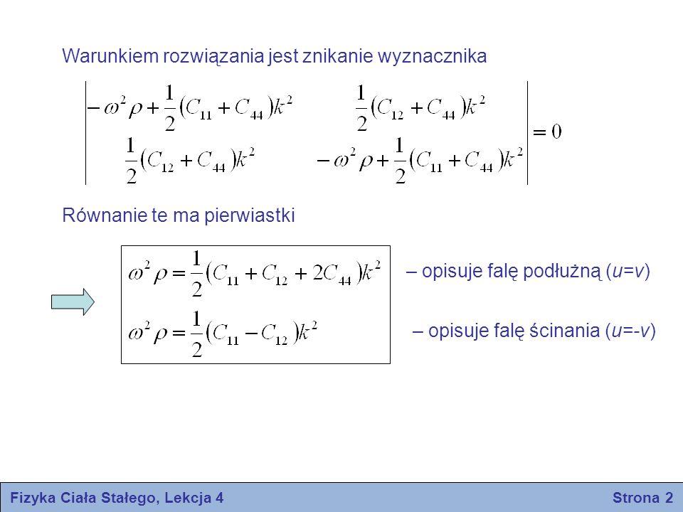Warunkiem rozwiązania jest znikanie wyznacznika Równanie te ma pierwiastki – opisuje falę podłużną (u=v) – opisuje falę ścinania (u=-v) Fizyka Ciała S