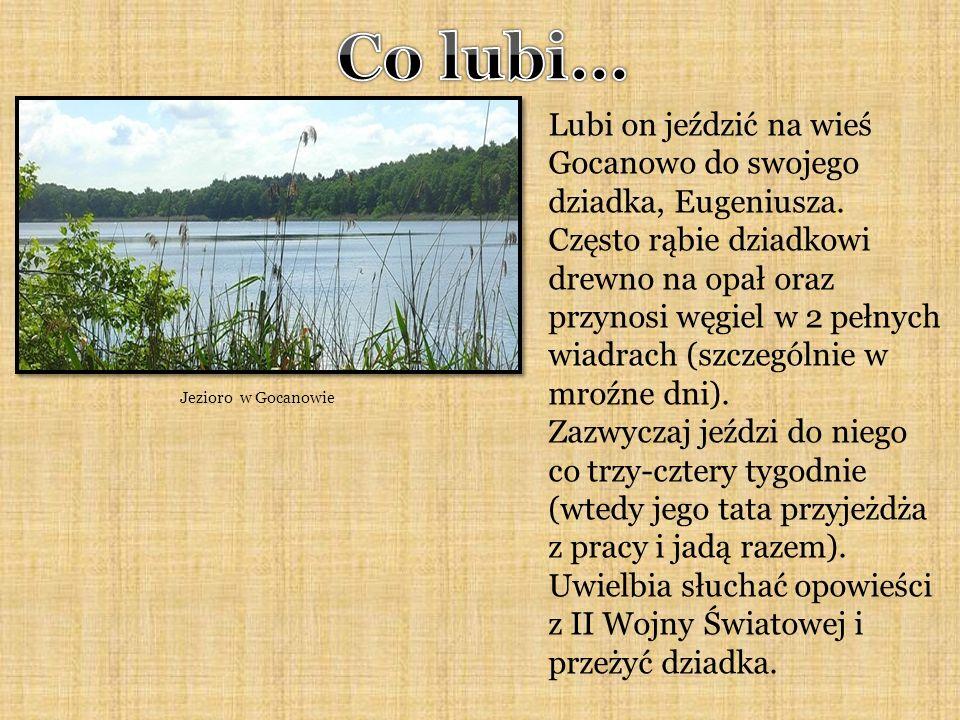 Jezioro w Gocanowie Lubi on jeździć na wieś Gocanowo do swojego dziadka, Eugeniusza.