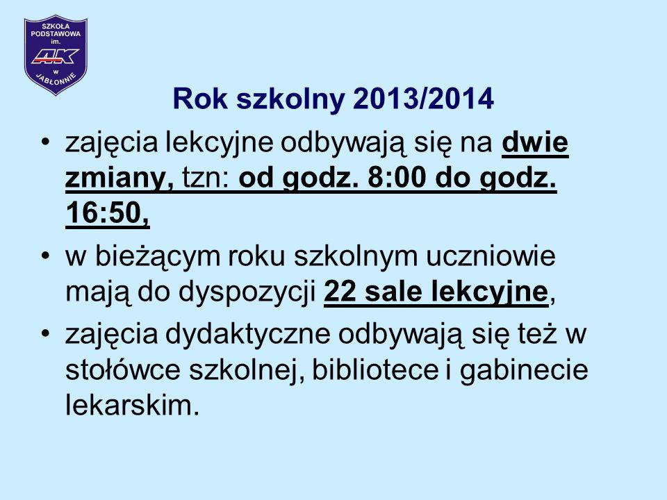 Rok szkolny 2013/2014 zajęcia lekcyjne odbywają się na dwie zmiany, tzn: od godz.