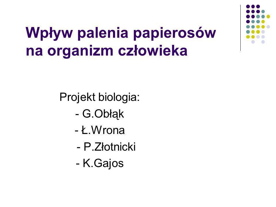 Wpływ palenia papierosów na organizm człowieka Projekt biologia: - G.Obłąk - Ł.Wrona - P.Złotnicki - K.Gajos