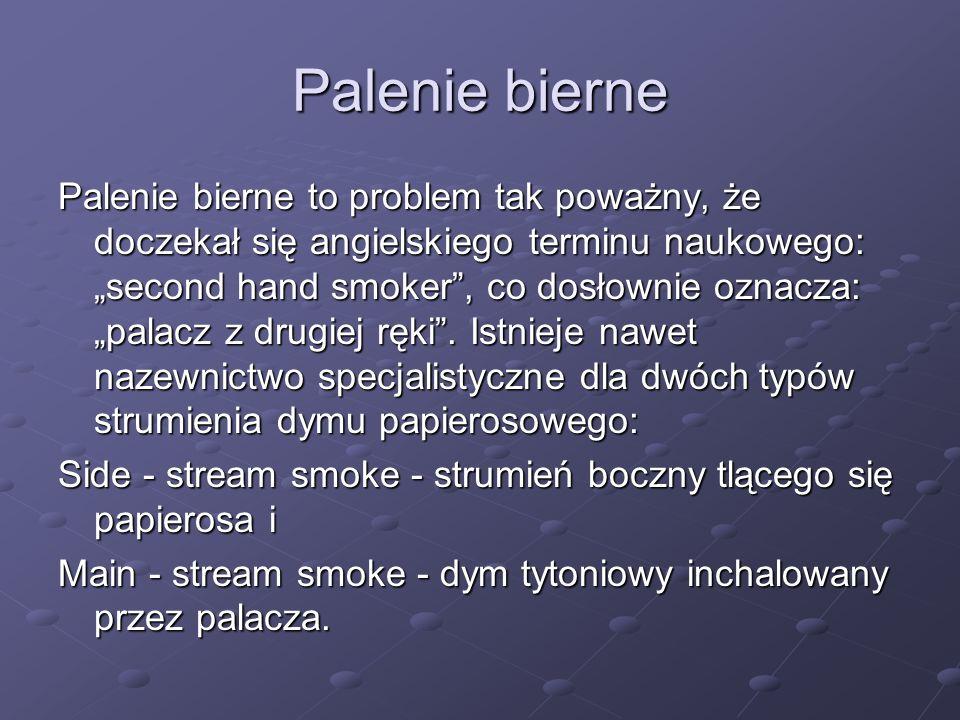 Palenie bierne Palenie bierne to problem tak poważny, że doczekał się angielskiego terminu naukowego: second hand smoker, co dosłownie oznacza: palacz z drugiej ręki.