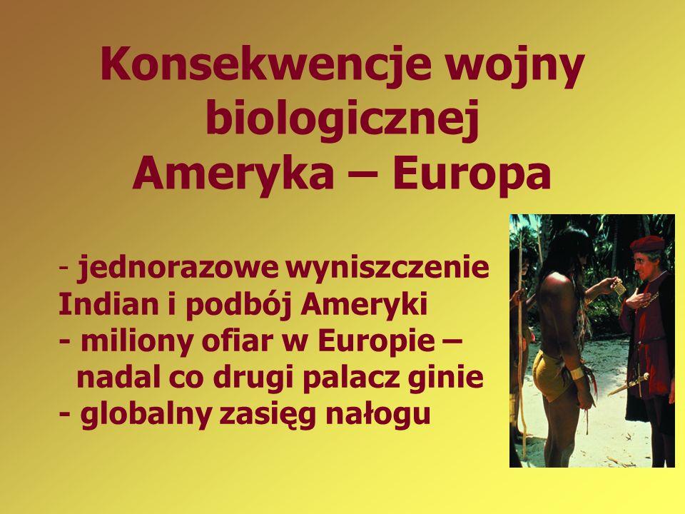 Konsekwencje wojny biologicznej Ameryka – Europa - jednorazowe wyniszczenie Indian i podbój Ameryki - miliony ofiar w Europie – nadal co drugi palacz