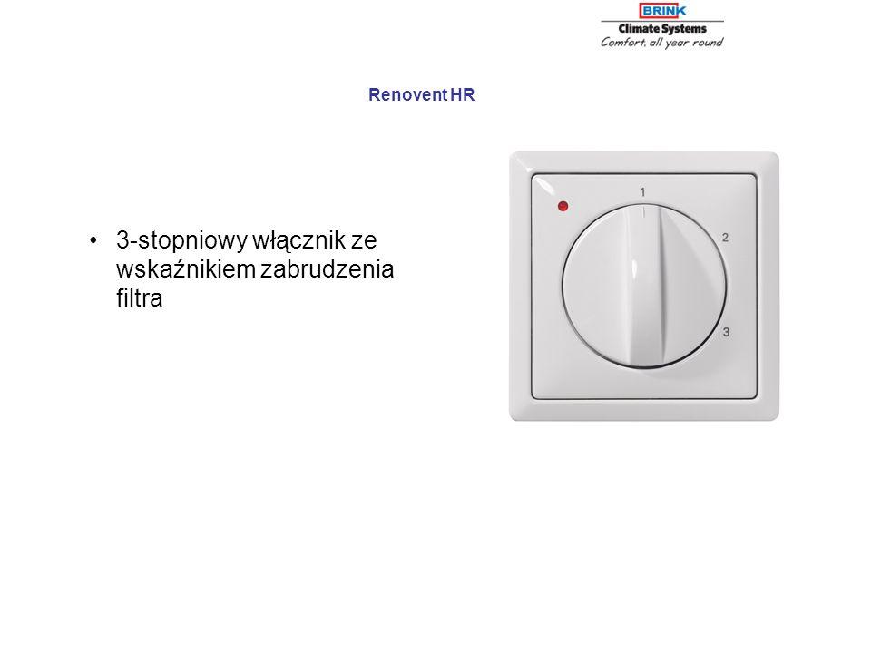 3-stopniowy włącznik ze wskaźnikiem zabrudzenia filtra Renovent HR