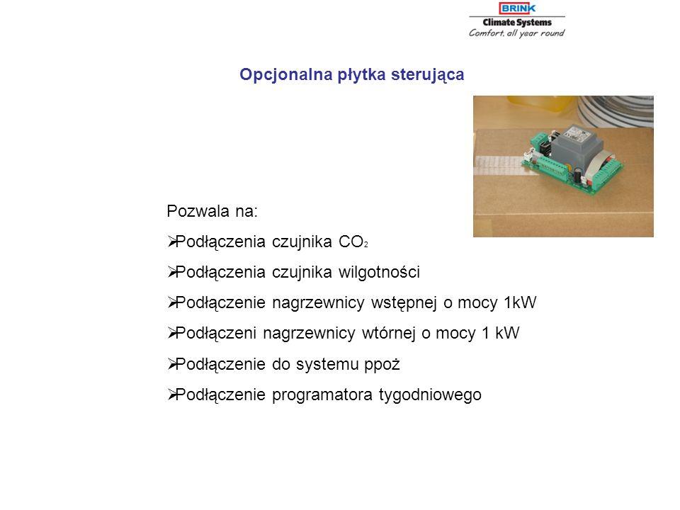 Opcjonalna płytka sterująca Pozwala na: Podłączenia czujnika CO 2 Podłączenia czujnika wilgotności Podłączenie nagrzewnicy wstępnej o mocy 1kW Podłącz