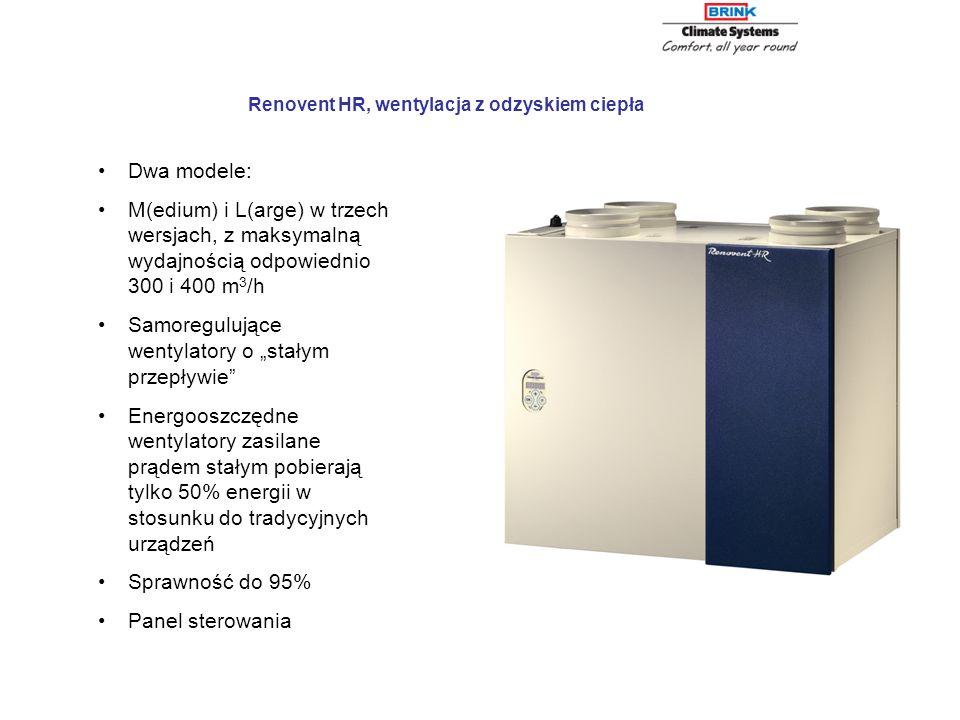 Dwa modele: M(edium) i L(arge) w trzech wersjach, z maksymalną wydajnością odpowiednio 300 i 400 m 3 /h Samoregulujące wentylatory o stałym przepływie