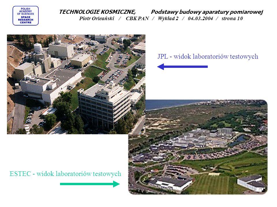 JPL - widok laboratoriów testowych ESTEC - widok laboratoriów testowych TECHNOLOGIE KOSMICZNE, Podstawy budowy aparatury pomiarowej Piotr Orleański /