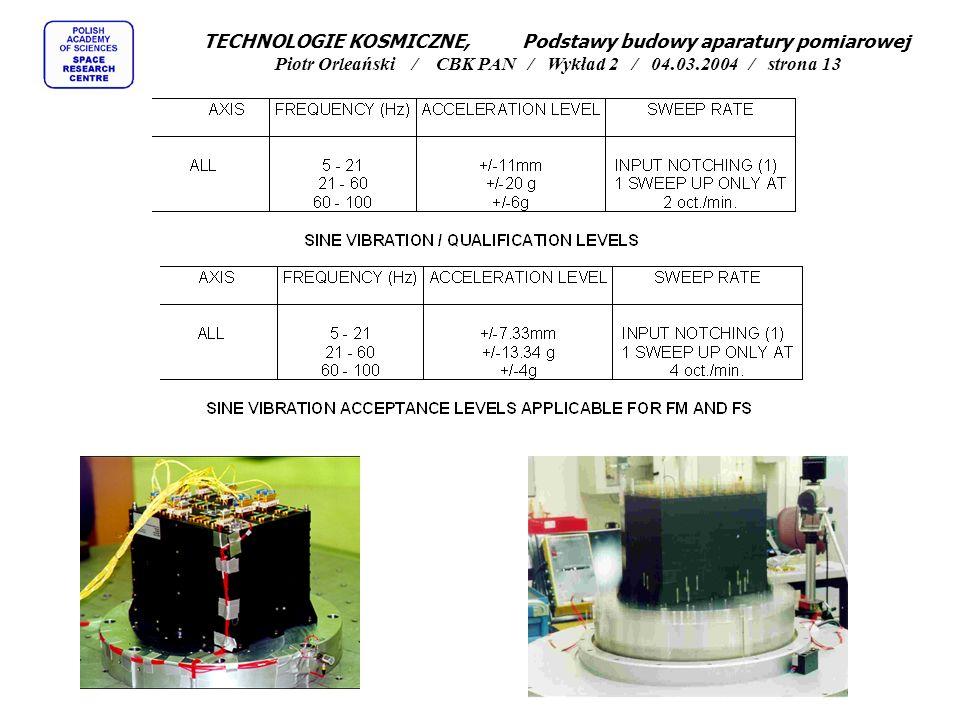 TECHNOLOGIE KOSMICZNE, Podstawy budowy aparatury pomiarowej Piotr Orleański / CBK PAN / Wykład 2 / 04.03.2004 / strona 13