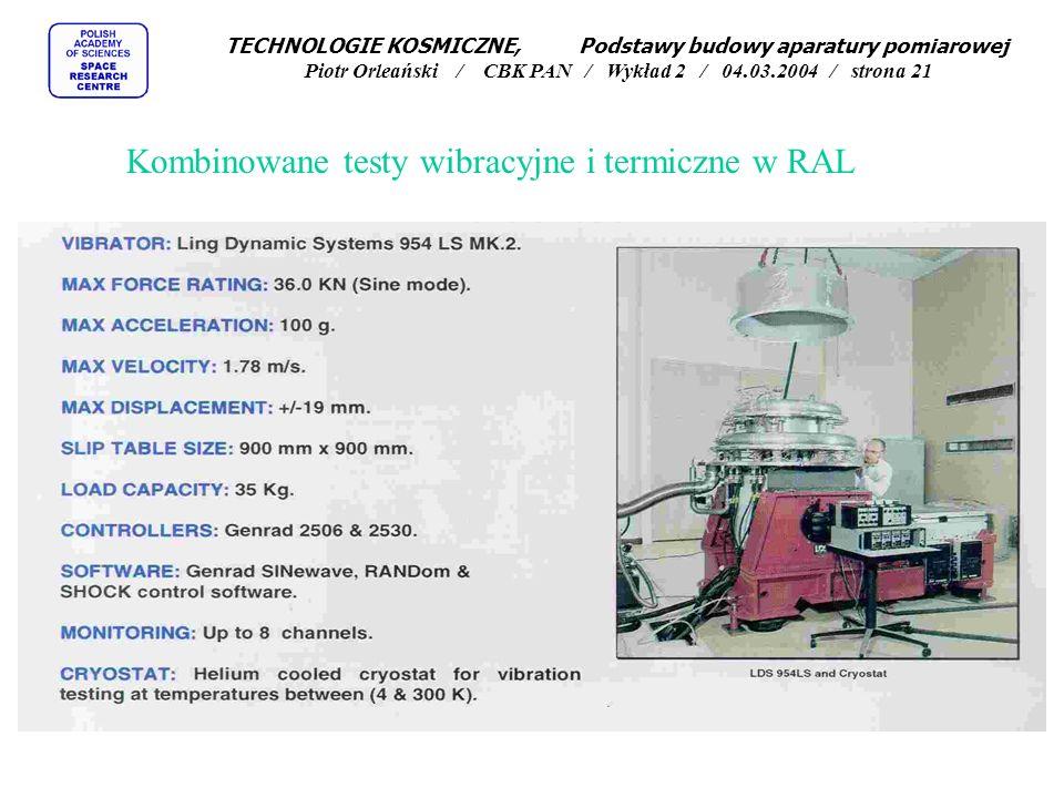 Kombinowane testy wibracyjne i termiczne w RAL TECHNOLOGIE KOSMICZNE, Podstawy budowy aparatury pomiarowej Piotr Orleański / CBK PAN / Wykład 2 / 04.0