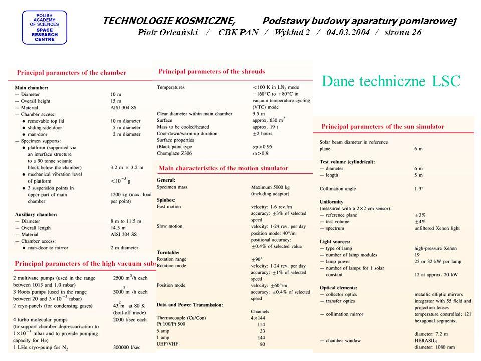 Dane techniczne LSC TECHNOLOGIE KOSMICZNE, Podstawy budowy aparatury pomiarowej Piotr Orleański / CBK PAN / Wykład 2 / 04.03.2004 / strona 26