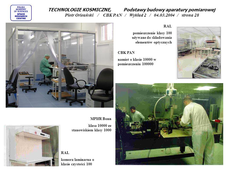 RAL pomieszczenie klasy 100 używane do składowania elementów optycznych CBK PAN namiot o klasie 10000 w pomieszczeniu 100000 RAL komora laminarna o kl