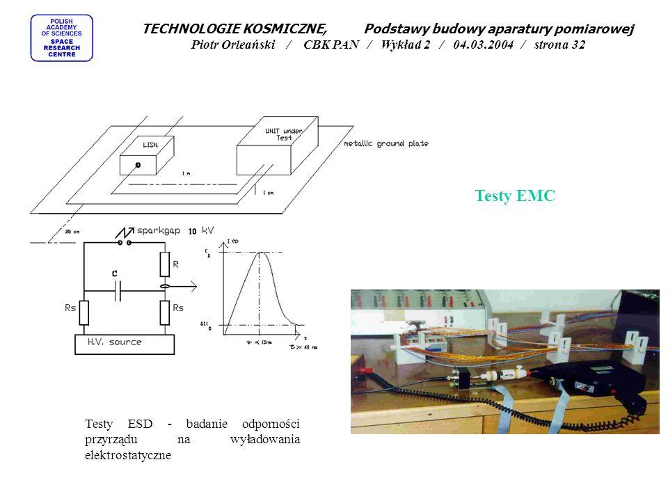 Testy EMC Testy ESD - badanie odporności przyrządu na wyładowania elektrostatyczne TECHNOLOGIE KOSMICZNE, Podstawy budowy aparatury pomiarowej Piotr O