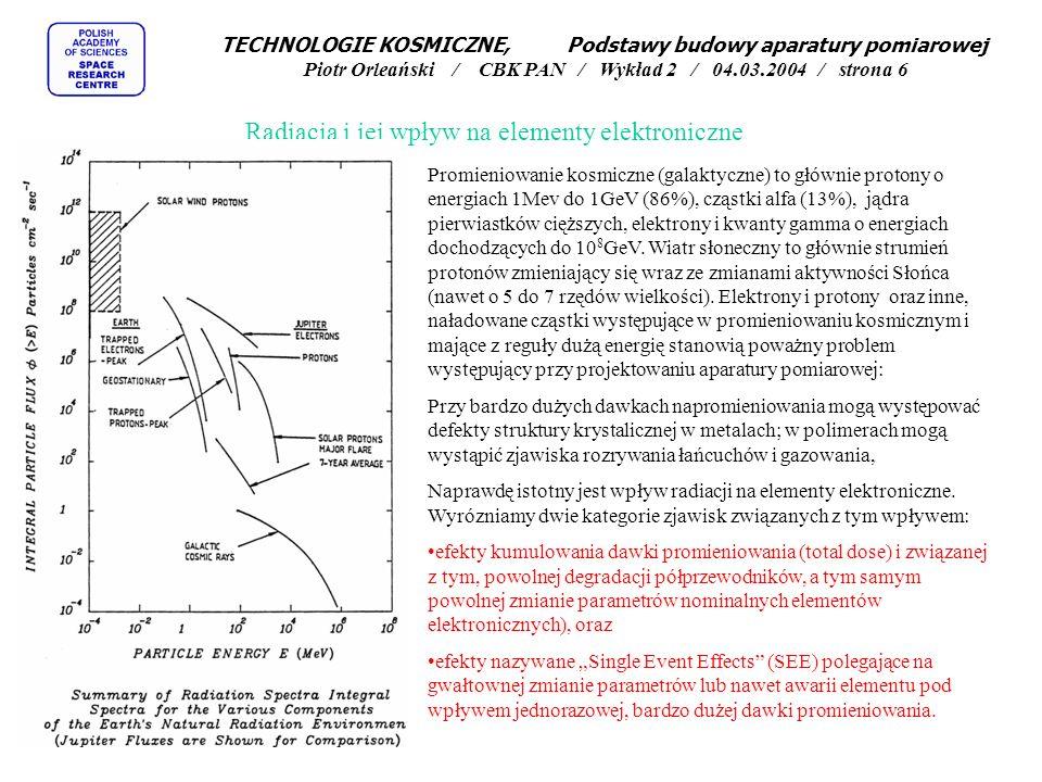 Radiacja i jej wpływ na elementy elektroniczne Promieniowanie kosmiczne (galaktyczne) to głównie protony o energiach 1Mev do 1GeV (86%), cząstki alfa