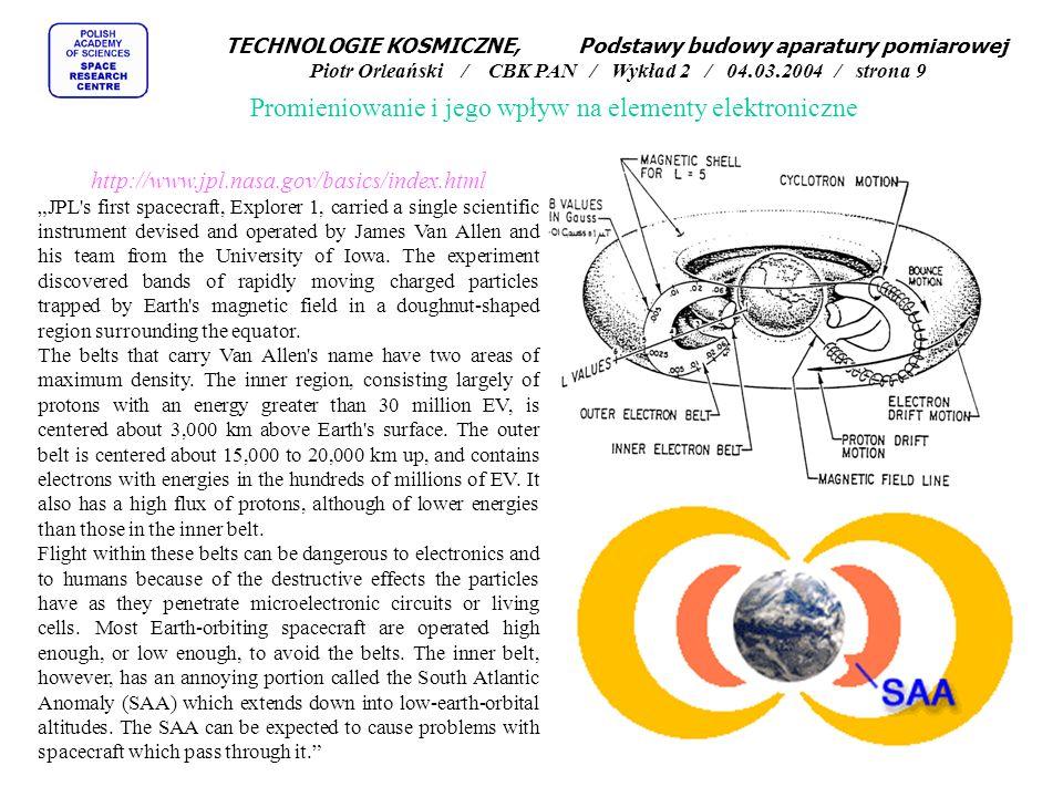 Promieniowanie i jego wpływ na elementy elektroniczne http://www.jpl.nasa.gov/basics/index.html JPL's first spacecraft, Explorer 1, carried a single s