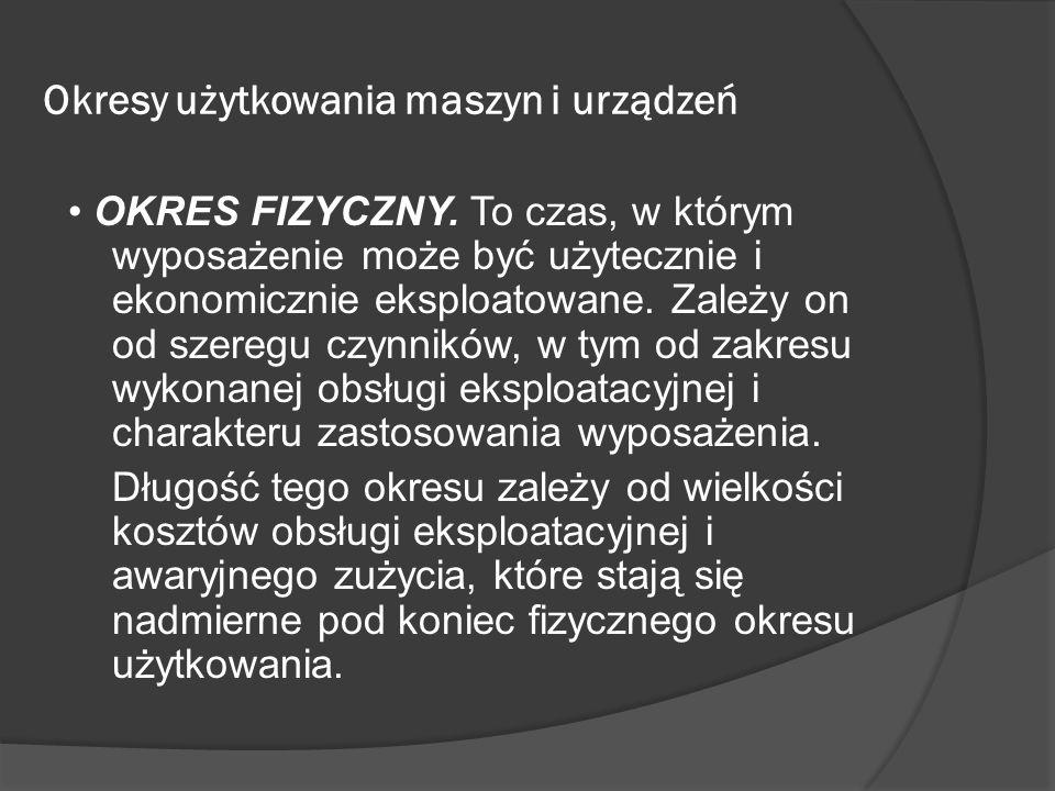 Okresy użytkowania maszyn i urządzeń OKRES FIZYCZNY. To czas, w którym wyposażenie może być użytecznie i ekonomicznie eksploatowane. Zależy on od szer