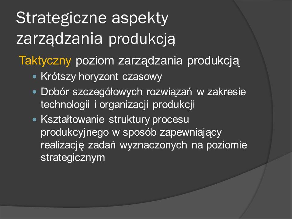 Strategiczne aspekty zarządzania produkcją Taktyczny poziom zarządzania produkcją Krótszy horyzont czasowy Dobór szczegółowych rozwiązań w zakresie te