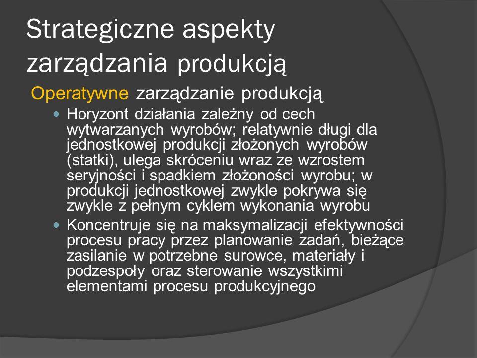 Strategiczne aspekty zarządzania produkcją Operatywne zarządzanie produkcją Horyzont działania zależny od cech wytwarzanych wyrobów; relatywnie długi