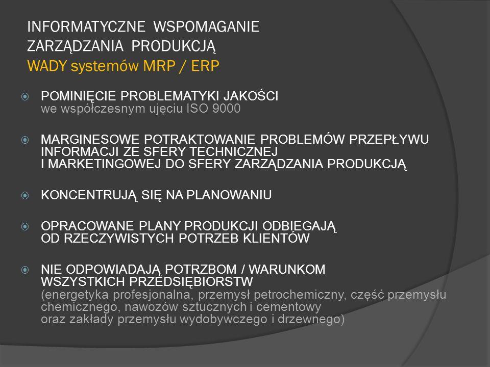 INFORMATYCZNE WSPOMAGANIE ZARZĄDZANIA PRODUKCJĄ WADY systemów MRP / ERP POMINIĘCIE PROBLEMATYKI JAKOŚCI we współczesnym ujęciu ISO 9000 MARGINESOWE PO