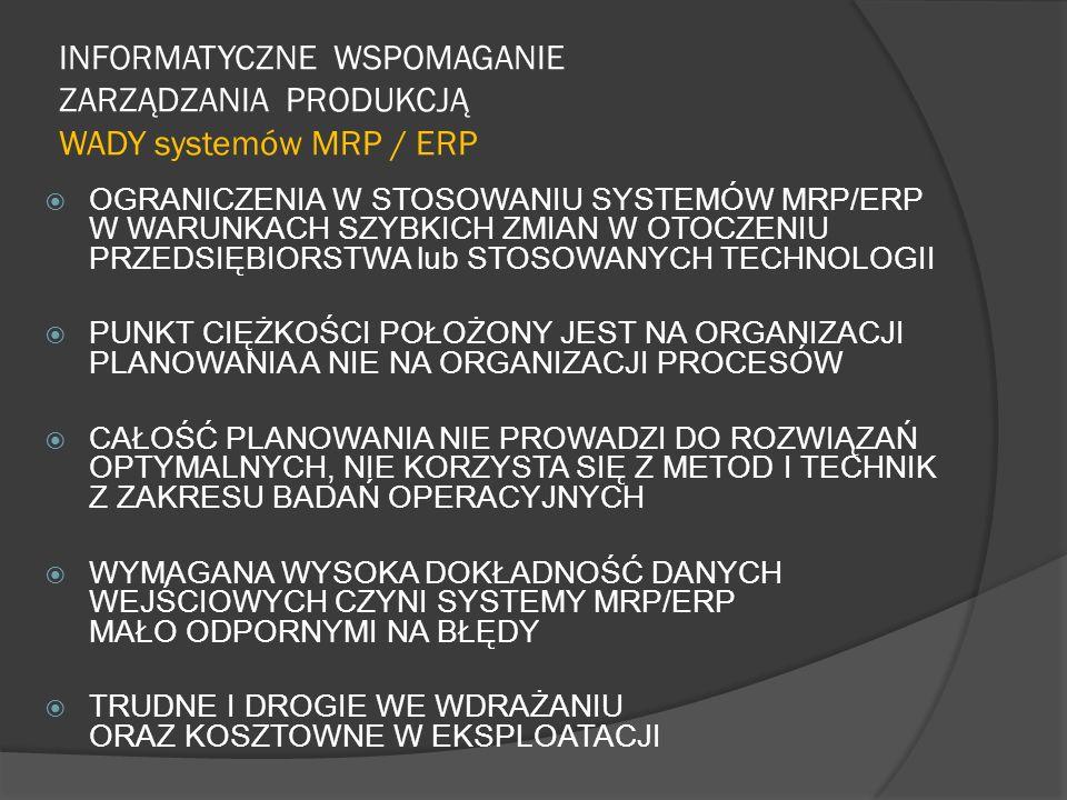 INFORMATYCZNE WSPOMAGANIE ZARZĄDZANIA PRODUKCJĄ WADY systemów MRP / ERP OGRANICZENIA W STOSOWANIU SYSTEMÓW MRP/ERP W WARUNKACH SZYBKICH ZMIAN W OTOCZE