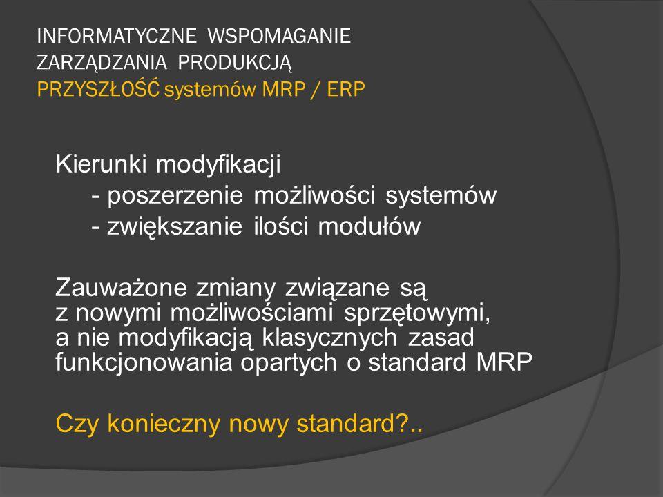 INFORMATYCZNE WSPOMAGANIE ZARZĄDZANIA PRODUKCJĄ PRZYSZŁOŚĆ systemów MRP / ERP Kierunki modyfikacji - poszerzenie możliwości systemów - zwiększanie ilo