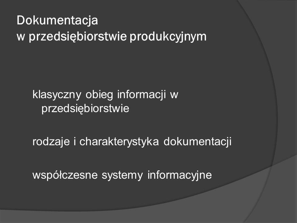Dokumentacja w przedsiębiorstwie produkcyjnym klasyczny obieg informacji w przedsiębiorstwie rodzaje i charakterystyka dokumentacji współczesne system