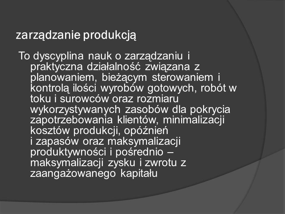 zarządzanie produkcją To dyscyplina nauk o zarządzaniu i praktyczna działalność związana z planowaniem, bieżącym sterowaniem i kontrolą ilości wyrobów