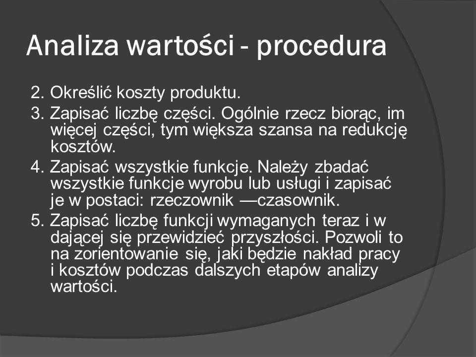 Analiza wartości - procedura 2. Określić koszty produktu. 3. Zapisać liczbę części. Ogólnie rzecz biorąc, im więcej części, tym większa szansa na redu